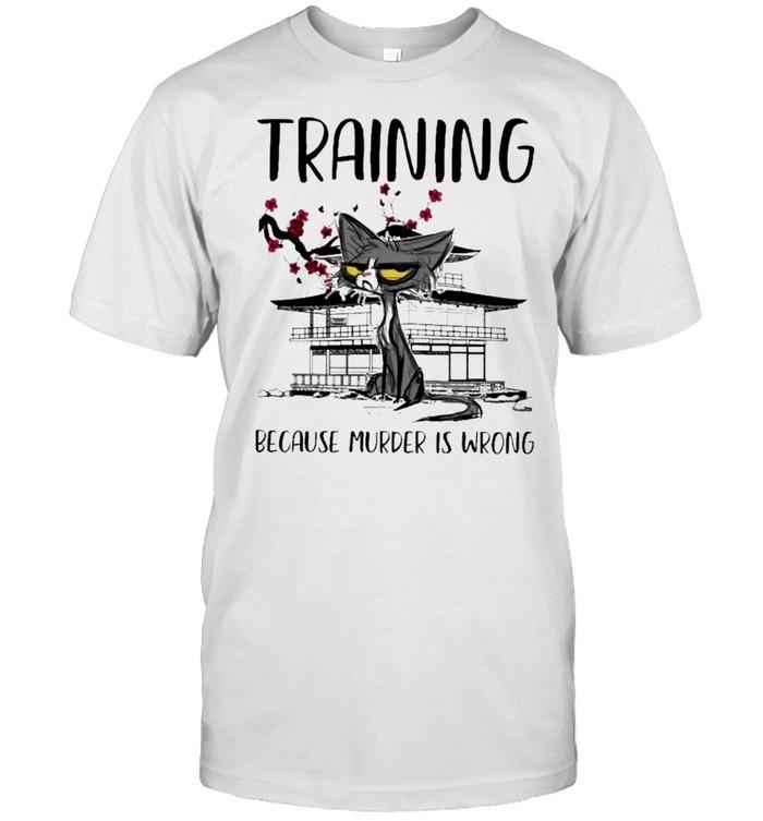 Black cat training because murder is wrong shirt Classic Men's T-shirt