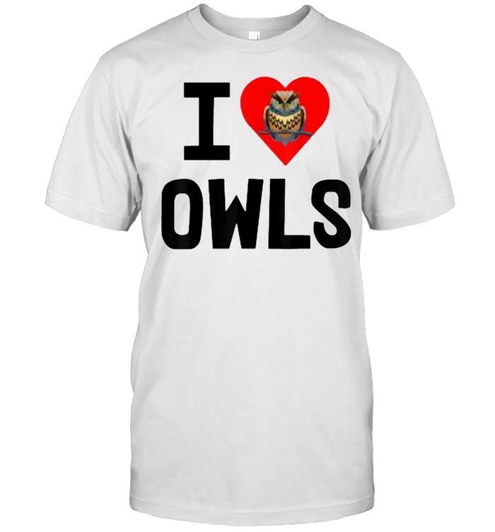 I Love Owls Heart Red T- Classic Men's T-shirt