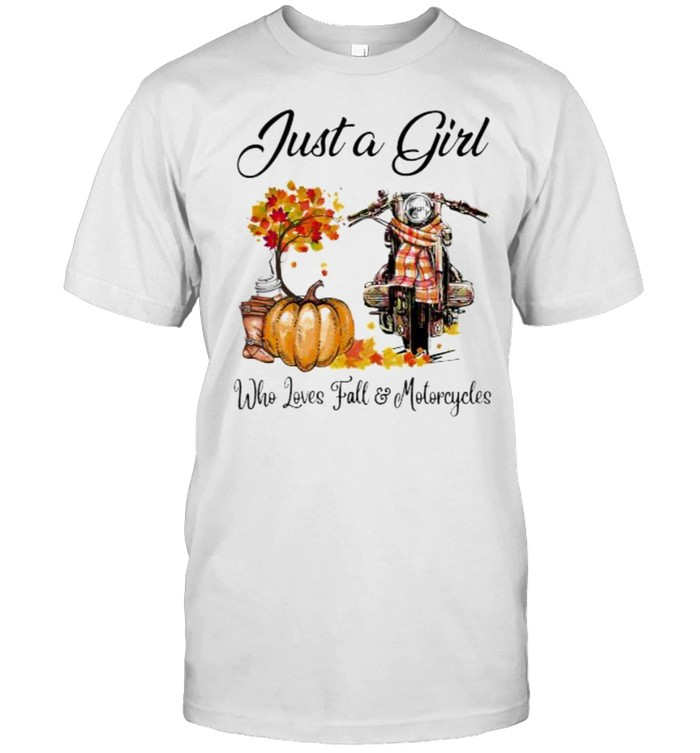 Just a girl who loves fall and motorcycle pumpkin shirt Classic Men's T-shirt