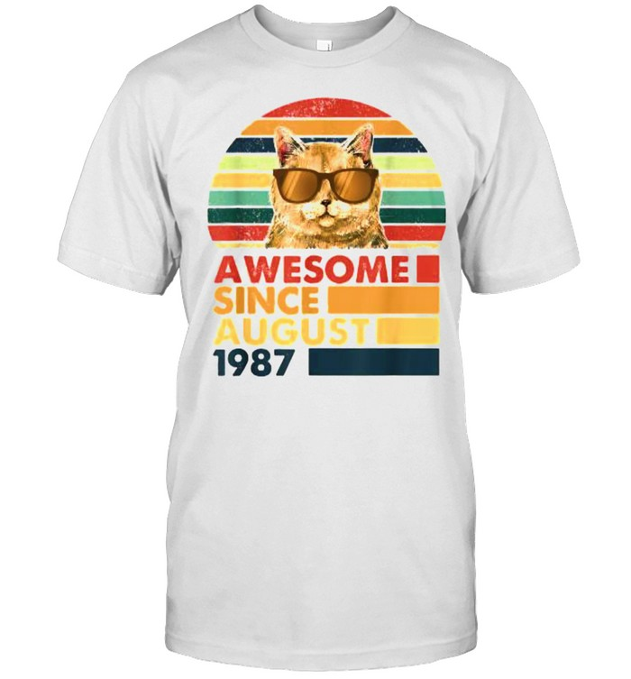 Awesome Since August 1987 Cat Vintage T- Classic Men's T-shirt