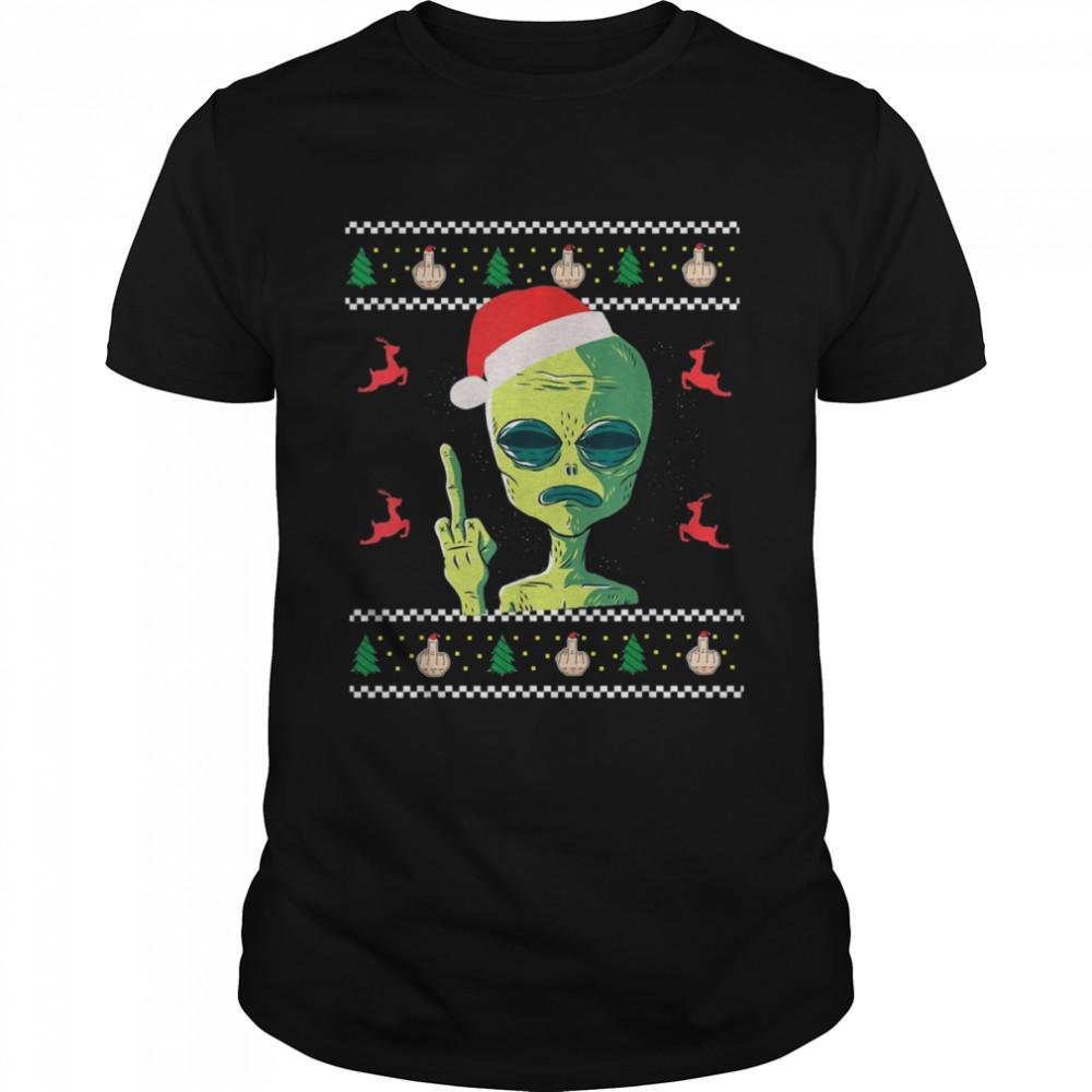 Lustige Ugly Christmas Apparel Aliens Mittelfinger Santa Mütze  Classic Men's T-shirt