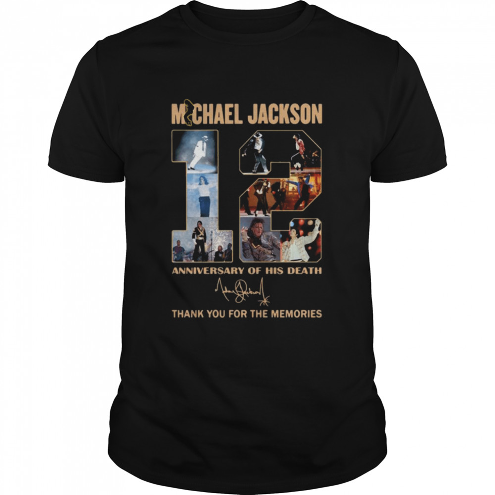 Michael Jackson 12th anniversary of his death thank you for the memories signature shirt Classic Men's T-shirt