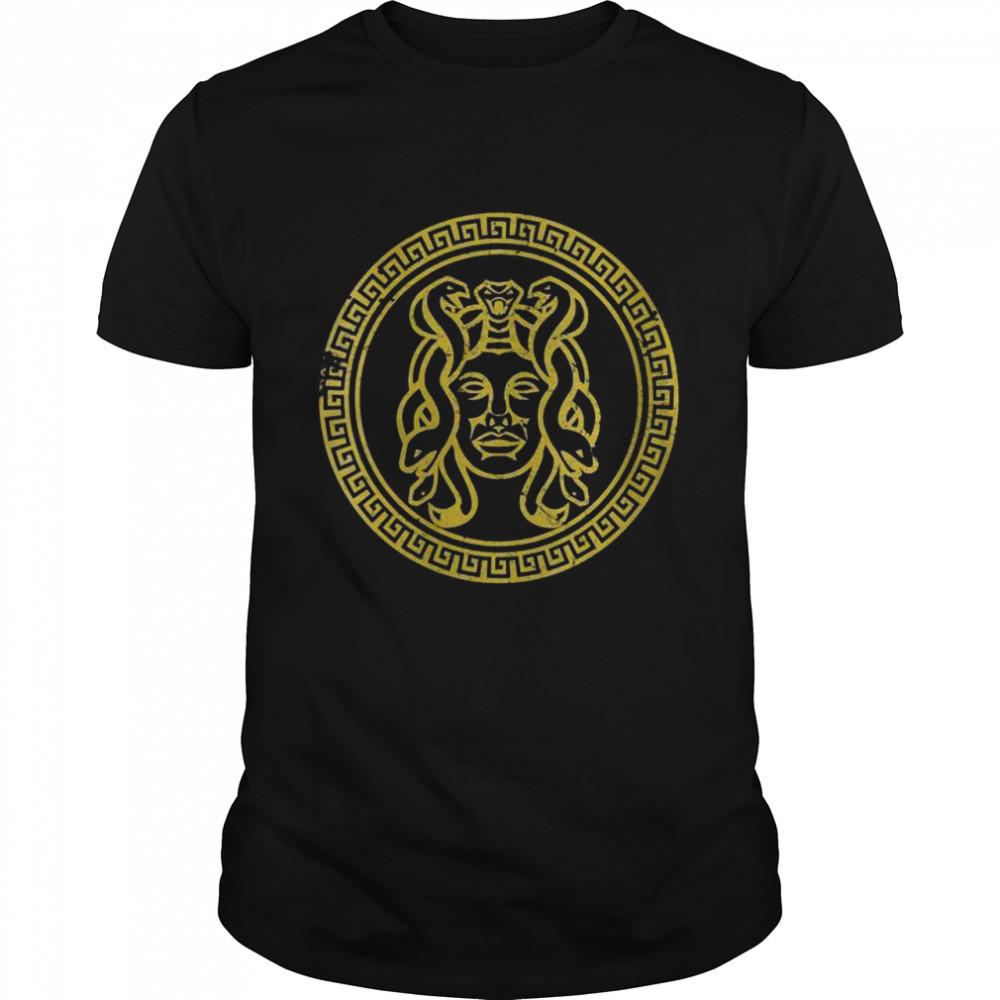 Medusa Head Statue Old Greek Coin Myhtology Goddess  Classic Men's T-shirt