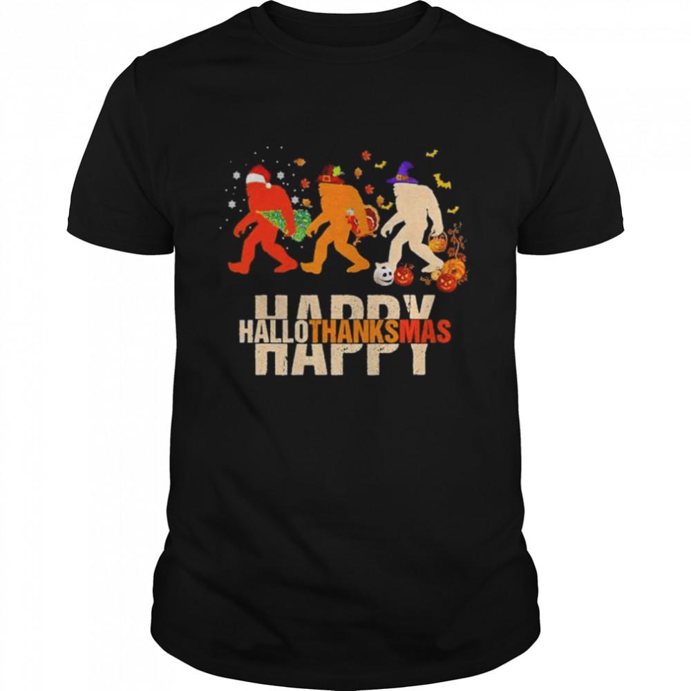 Bigfoot happy hallothanksmas Halloween shirt Classic Men's T-shirt